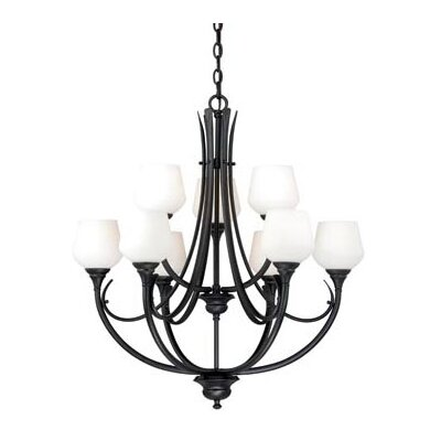 Grafton 9-Light Shaded Chandelier Finish: Oil Rubbed Bronze