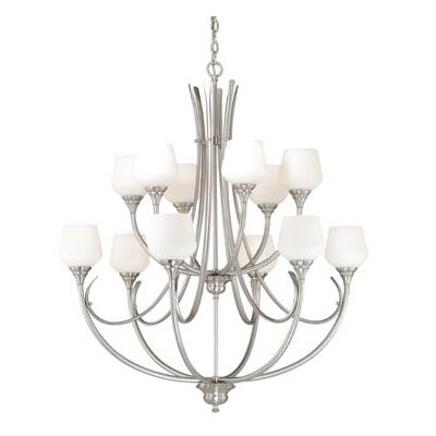 Grafton 12-Light Shaded Chandelier Finish: Satin Nickel