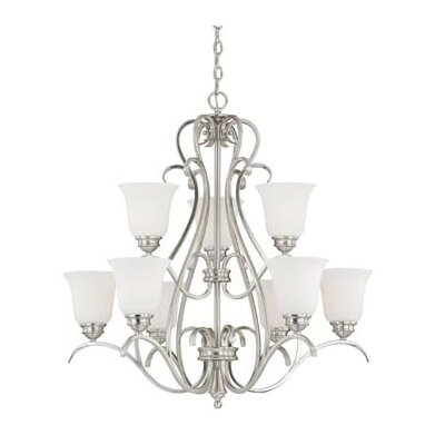 Elayne 9-Light Shaded Chandelier Finish: Satin Nickel