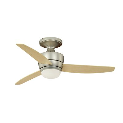 44 Adrian 3-Blade Flushmount DC Ceiling Fan Finish: Brushed Nickel with Maple Blades