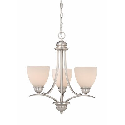 Bourbon 3-Light Shaded Chandelier Finish: Brushed Nickel