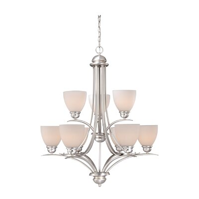 Bourbon 9-Light Shaded Chandelier Finish: Brushed Nickel