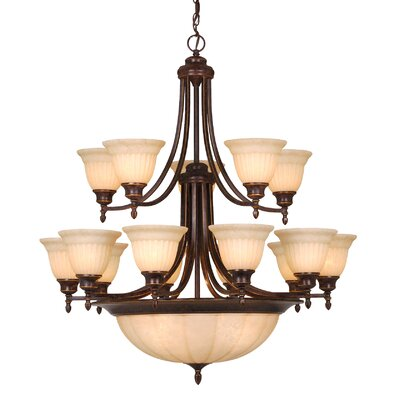 Brussels 20-Light Shaded Chandelier Finish: Aztec Bronze