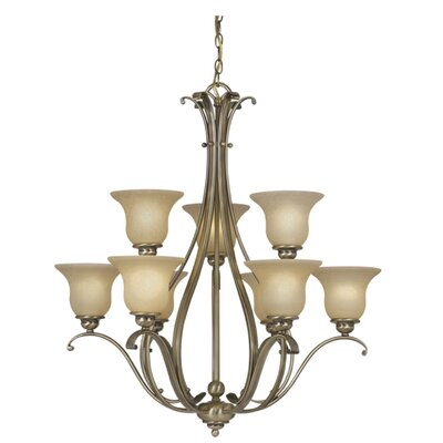 Monrovia 9-Light Shaded Chandelier Finish: Antique Brass