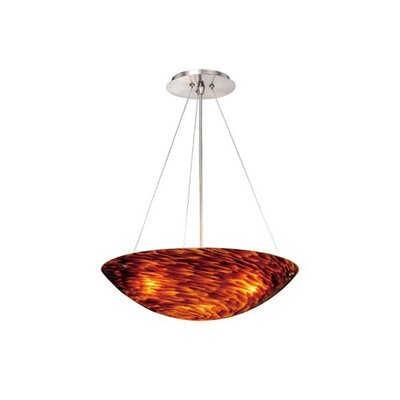 Moris 3-Light Inverted Pendant Shade Color: Flaming Amber Glass