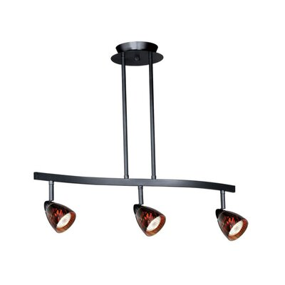3-Light Spot Pendant Finish: Dark Bronze, Glass Shade: Creme Cognac Glass