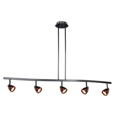 Mulvaney 5-Light Kitchen Island Pendant Finish: Satin Nickel, Glass Shade: Dark Umbra Glass