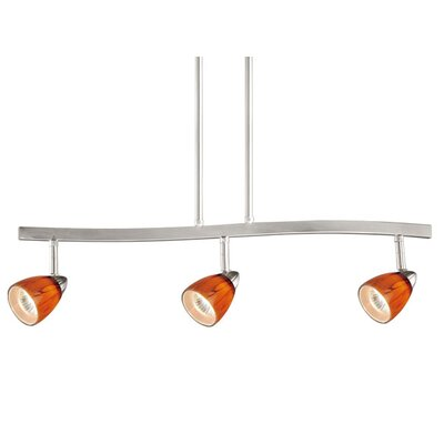 3-Light Spot Pendant Finish: Satin Nickel, Glass Shade: Honey Ripple Glass