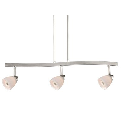 3-Light Spot Pendant Finish: Satin Nickel, Glass Shade: White Wiped Glass