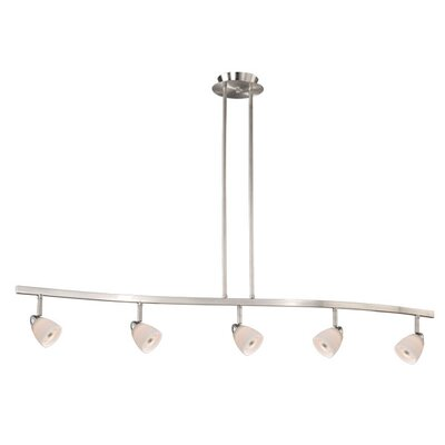 5-Light Kitchen Island Pendant Finish: Satin Nickel, Glass Shade: White Wiped Glass