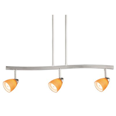 3-Light Spot Pendant Finish: Satin Nickel, Glass Shade: Amber Wiped Glass