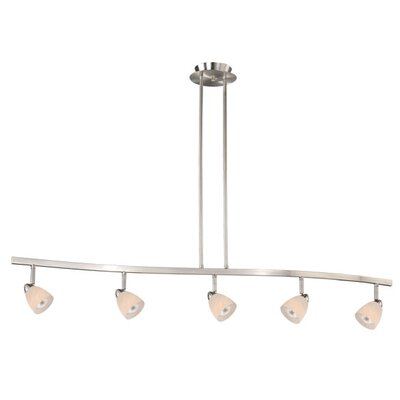 Mulvaney 5-Light Kitchen Island Pendant Finish: Satin Nickel, Glass Shade: White Umbra Glass