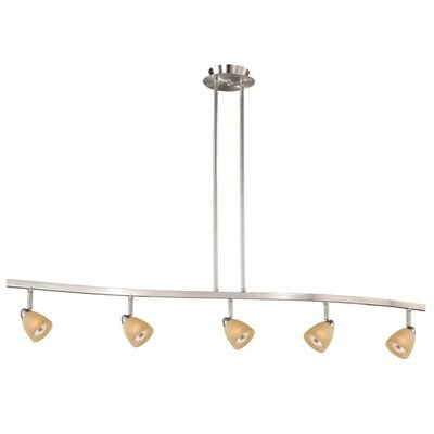 Mulvaney 5-Light Kitchen Island Pendant Finish: Satin Nickel, Glass Shade: Creme Cognac Glass