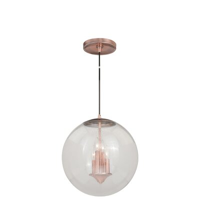 630 Series 1-Light Mini Pendant Shade Color: Clear Seeded Glass, Finish: Copper