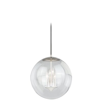 630 Series 1-Light Mini Pendant Finish: Polished Nickel, Shade Color: Clear Seeded Glass