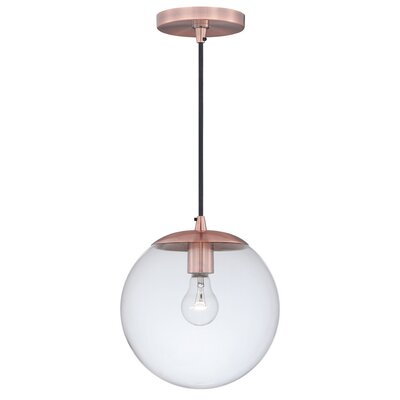 630 Series 1-Light Mini Pendant Shade Color: Clear Glass, Finish: Copper
