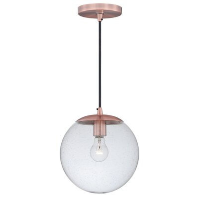 630 Series 1-Light Mini Pendant Finish: Copper, Shade Color: Clear Seeded Glass