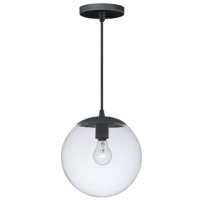 630 Series 1-Light Mini Pendant Shade Color: Clear Glass, Finish: Black Iron