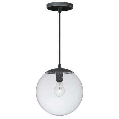 630 Series 1-Light Mini Pendant Finish: Black Iron, Shade Color: Clear Seeded Glass