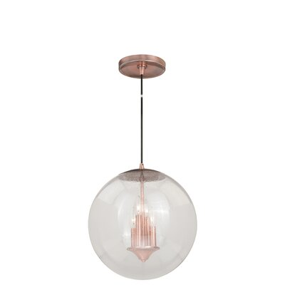 630 Series 1-Light Mini Pendant Finish: Copper, Shade Color: Clear Glass