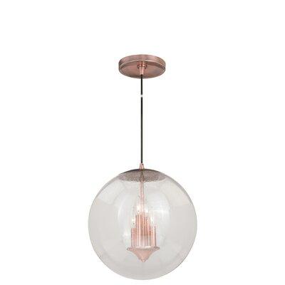 630 Series 1-Light Mini Pendant Finish: Copper, Shade Color: Clear Glass
