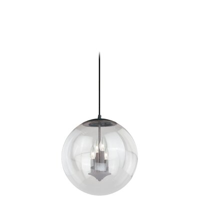 630 Series 1-Light Mini Pendant Shade Color: Clear Seeded Glass, Finish: Black Iron