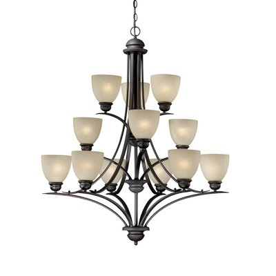 Bourbon 12-Light Shaded Chandelier Finish: Oil Burnished Bronze