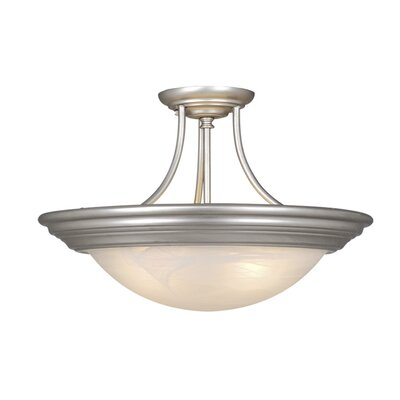 Fancher Flush Mount Finish: Brushed Nickel, Size: 9 H x 17 W