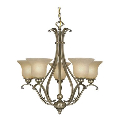Enfield 5-Light Glass Shaded Chandelier Finish: Antique Brass