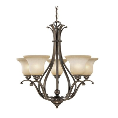 Enfield 5-Light Glass Shaded Chandelier Finish: Royal Bronze