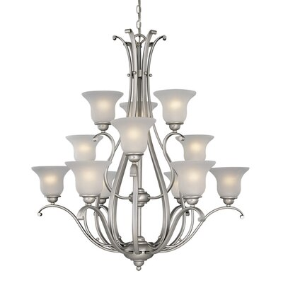 Enfield 12-Light Shaded Chandelier Finish: Brushed Nickel