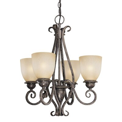 Mont Blanc 4-Light Shaded Chandelier Finish: Aztec Bronze