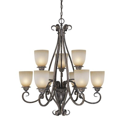 Mont Blanc 9-Light Shaded Chandelier Finish: Aztec Bronze