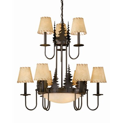 Jennings 9-Light Glass Shaded Chandelier