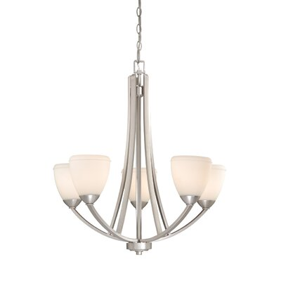 Morford 5-Light Shaded Chandelier Finish: Brushed Nickel