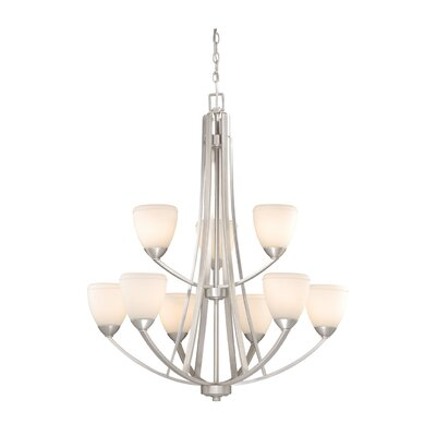 Helsinki 9-Light Shaded Chandelier Finish: Brushed Nickel