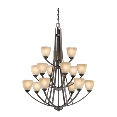 Lemley Helsinki 15-Light Shaded Chandelier Finish: Black Walnut