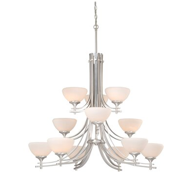 Lembo 12-Light Shaded Chandelier Finish: Brushed Nickel