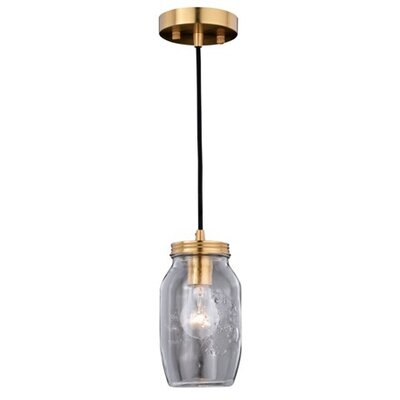 Robertson Jar 1-Light Mini Pendant Finish: Natural Brass