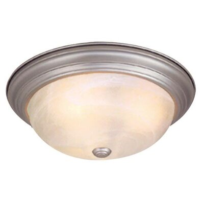 Saturn Flush Mount Finish: Weathered Patina, Size: 4.88 H x 13.38 W x 13.38 D, Shade Material: Alabaster
