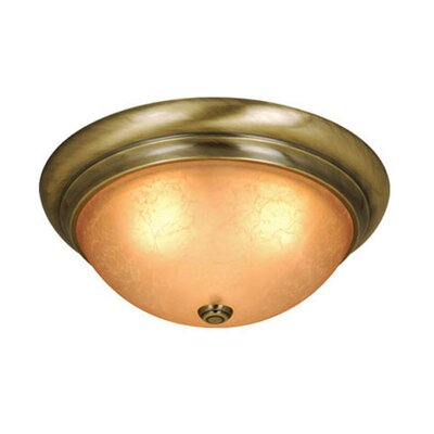 Brunell 11 Flush Mount Size / Color / Shade Color: 5.5 H x 15.13 W/Antique Brass/Cognac Crackle