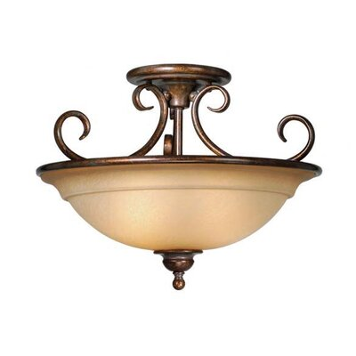 Omni Semi Flush Mount Finish: Royal Bronze / Brushed Cognac Glass