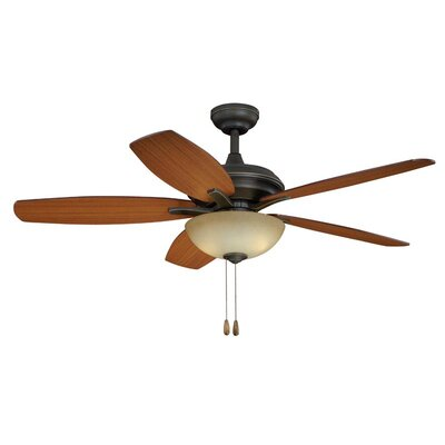 Valencia 5-Blade Ceiling Fan Finish: Oil Rubbed Bronze, Glass Type: Cr�me Cognac Glass