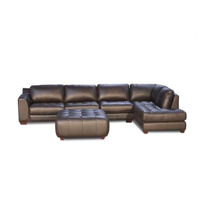 Zen Right Leather Modular Chaise Sectional