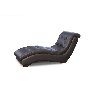 Diamond sofa metro leather chaise loungewayfair luxury for Black leather chaise lounge sofa