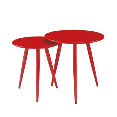 DUO 2 Piece Nesting Table Set Color: Red