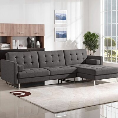 Siefert Sleeper Sectional Upholstery: Grey