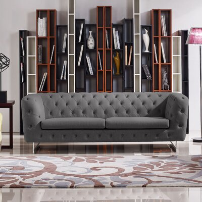 Catalina Tufted Chesterfield Sofa Color: Grey