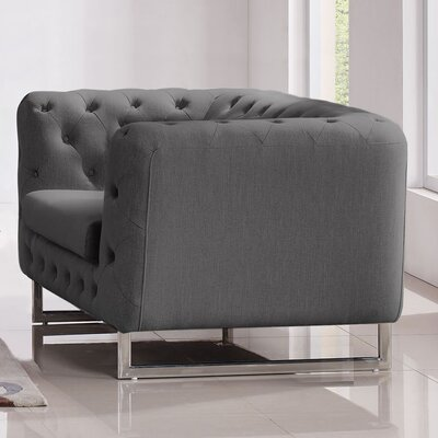 Catalina Tufted Chesterfield Chair Upholstery: Grey