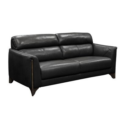 Monaco Leather Sofa Upholstery: Black